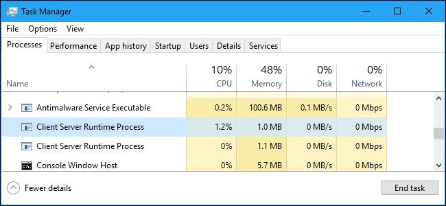 csrss.exe Процесс исполнения клиент-сервер