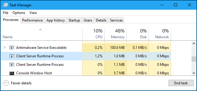 Processo runtime client server