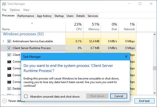 csrss.exe Διεργασία χρόνου εκτέλεσης προγράμματος-πελάτη του διακομιστή (32 bit)