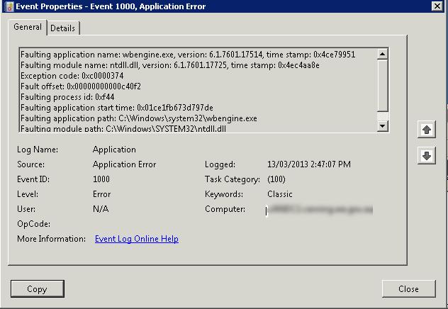 wbengine.exe EXE del Servicio del módulo de copia de seguridad a nivel de bloque de Microsoft® (32 bits)