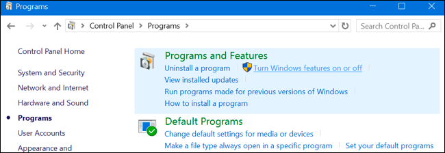 OptionalFeatures.exe Características de Windows