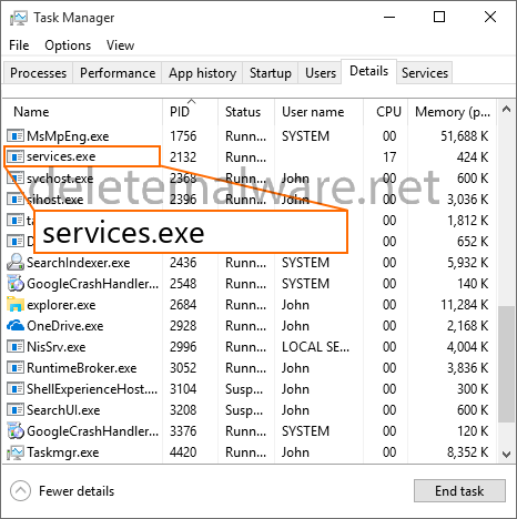 services.exe Services and Controller app