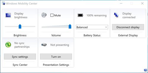 mblctr.exe Центр мобильности Windows